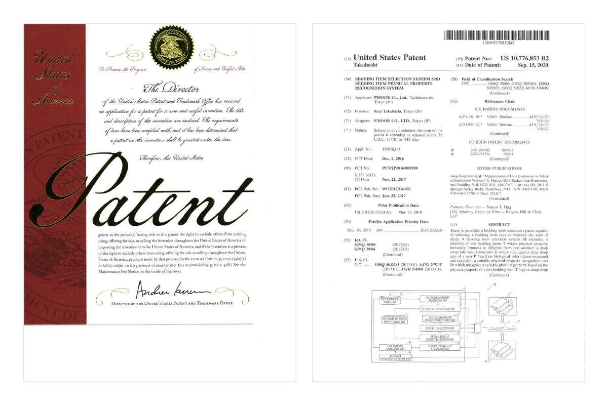 寝具に関する米国特許取得のお知らせ