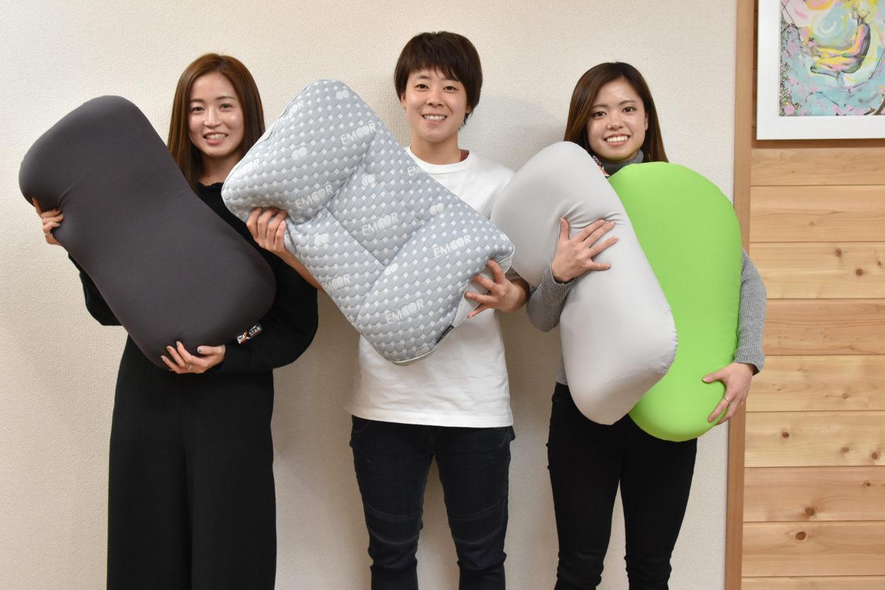 長谷川選手/清水選手/土光選手へ寝具フィッティングを実施